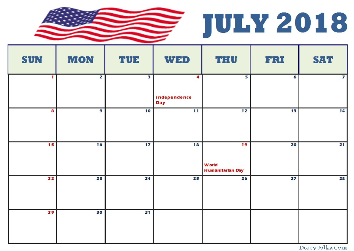 July 2018 Holidays Calendar US