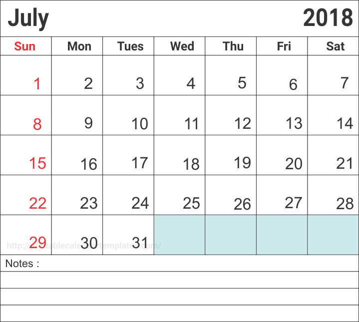 July 2018 Printable Calendar Holidays Template
