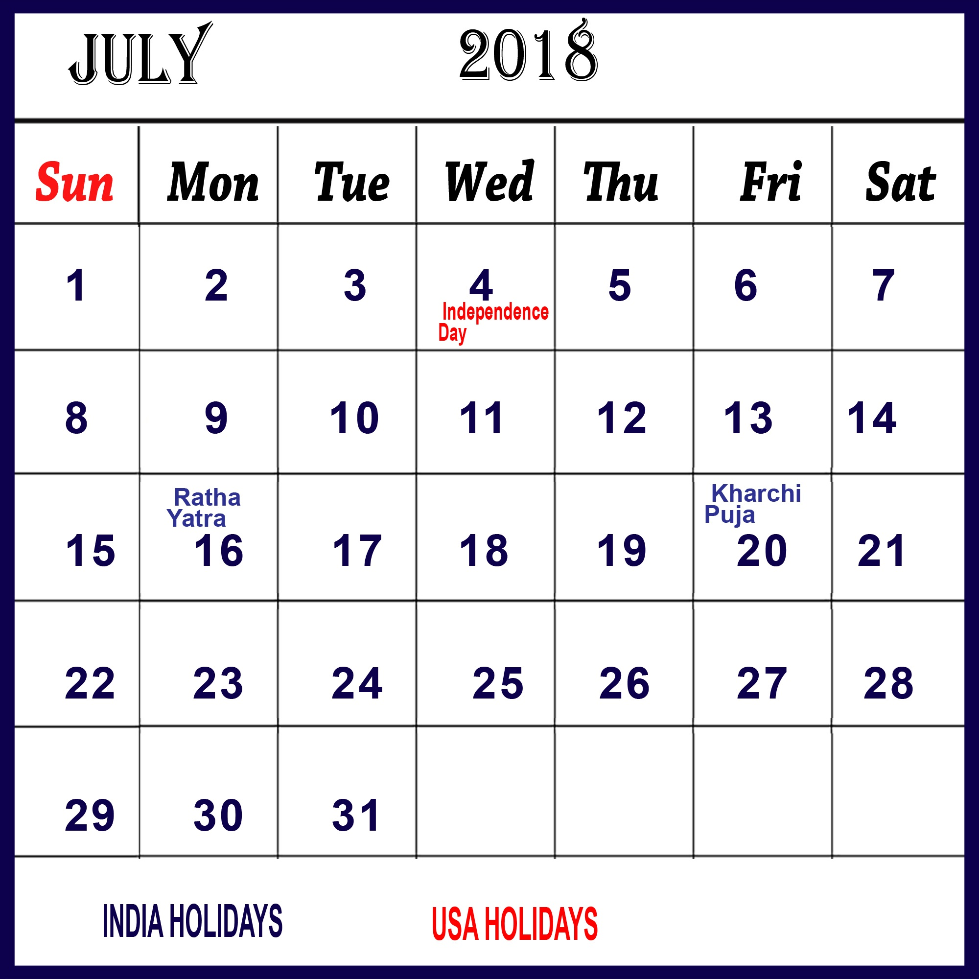 July 2018 Printable Calendar With Holidays