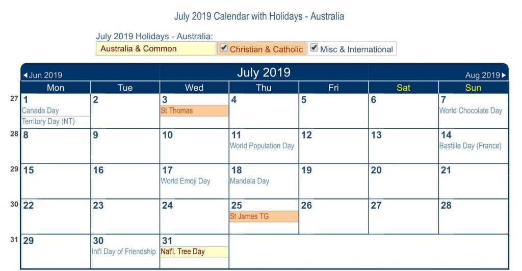 July 2019 Calendar Australia with Holidays