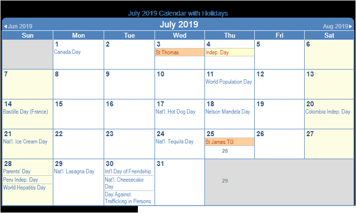 July 2019 Calendar with Holidays Printable