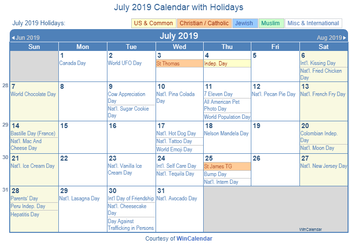 July 2019 Calendar with Holidays USA