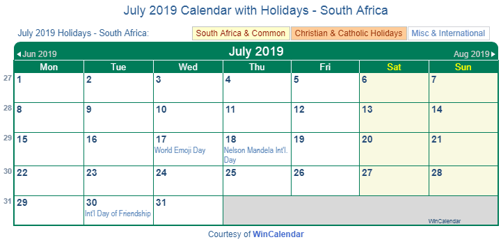 July 2019 Calendar with South Africa Holidays to Print
