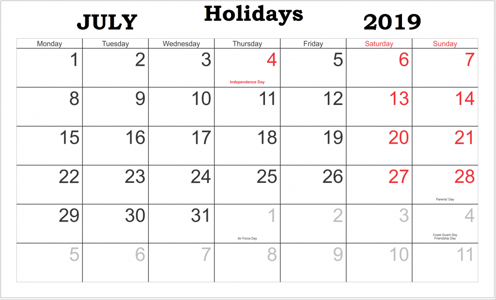 July 2019 Holidays Calendar