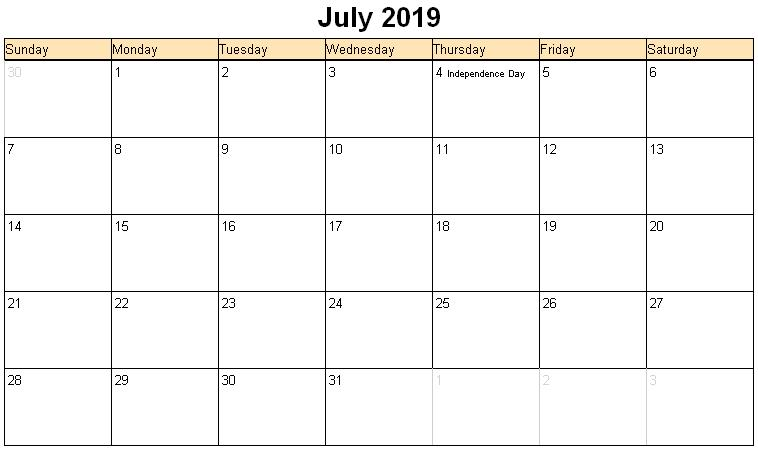 July 2019 calendar with USA holidays