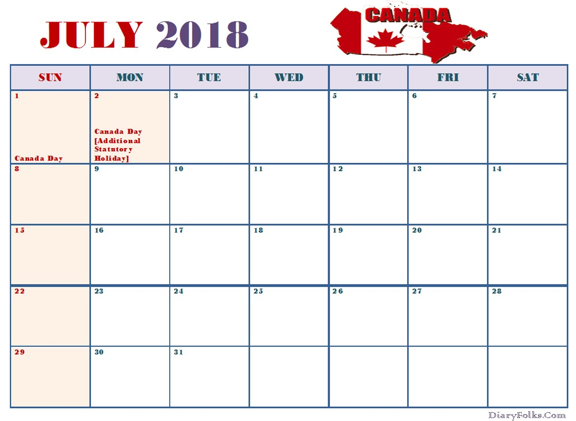 July Calendar 2018 With Holidays in Canada