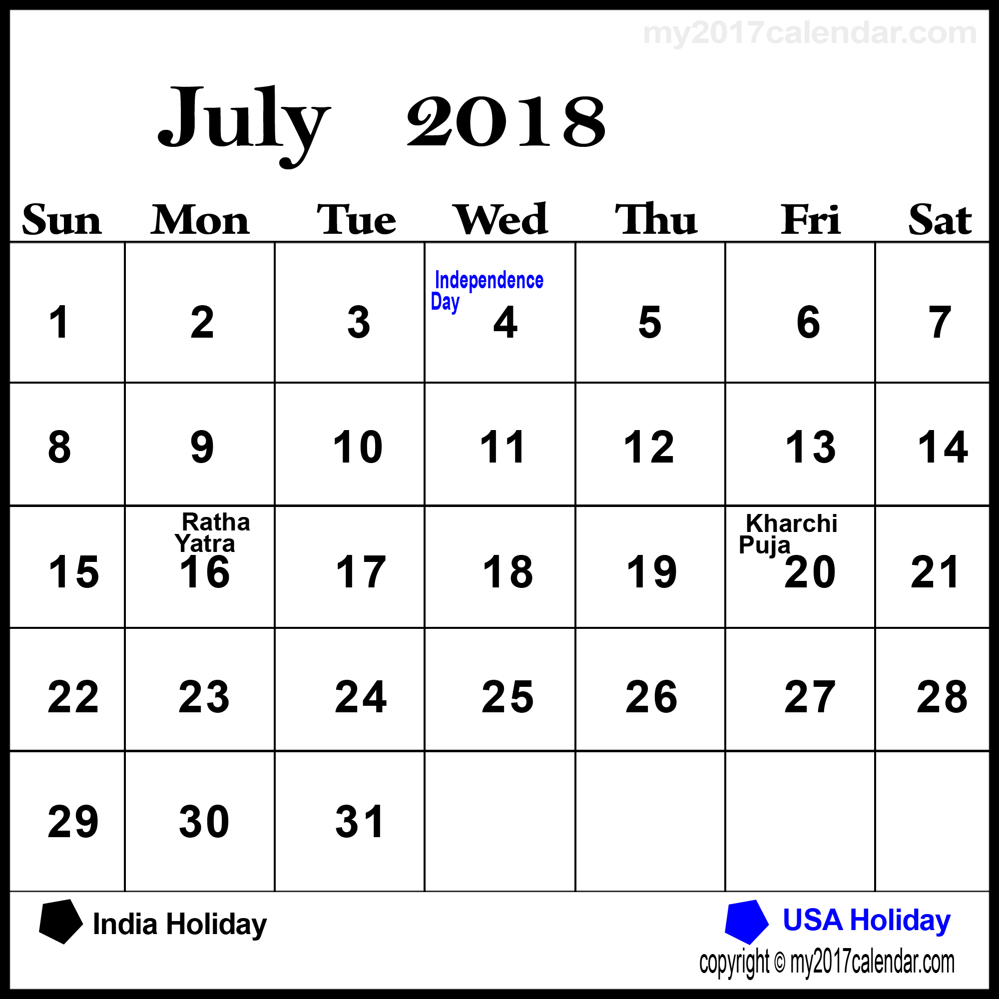 July Calendar 2018 With Holidays