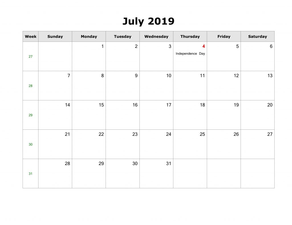 July Calendar 2019 With Holidays United States