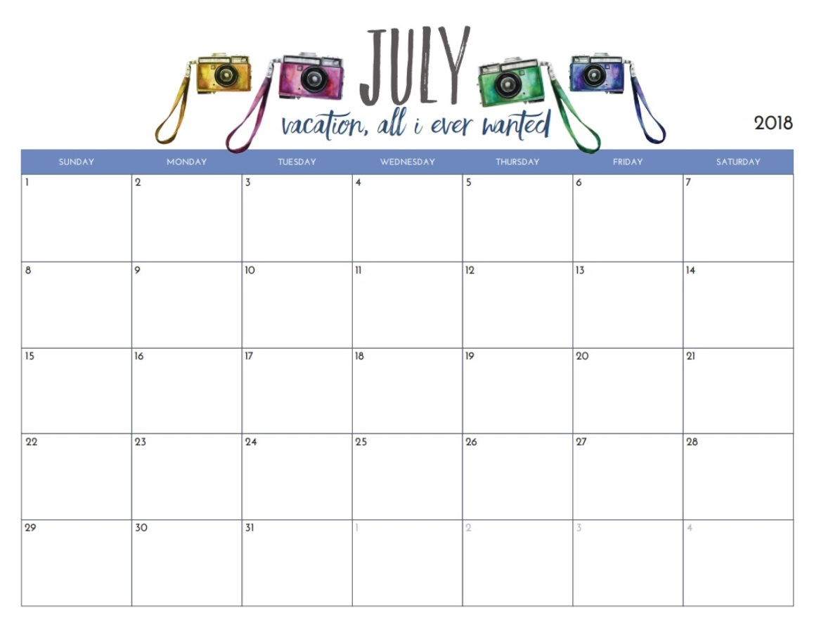 Printable July 2018 Holidays Calendar