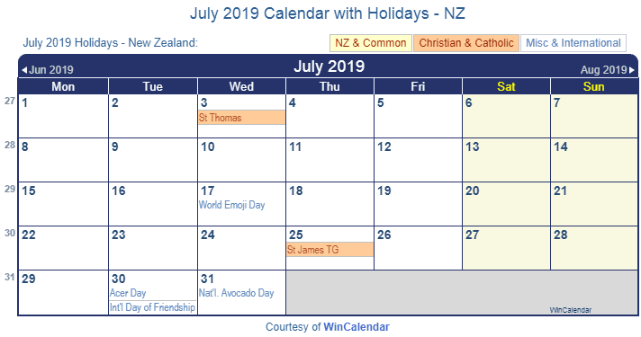 July 2019 Calendar with South Africa Holidays