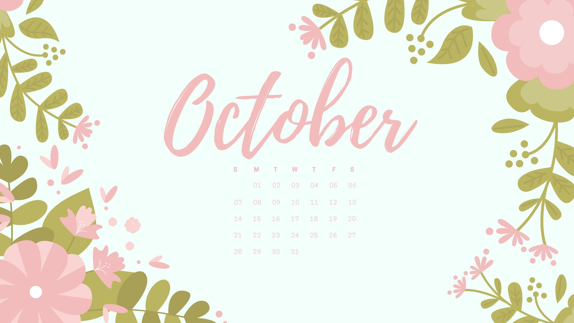 Cute Calendar Wallpaper : Cute october calendar wall floral pink designs images