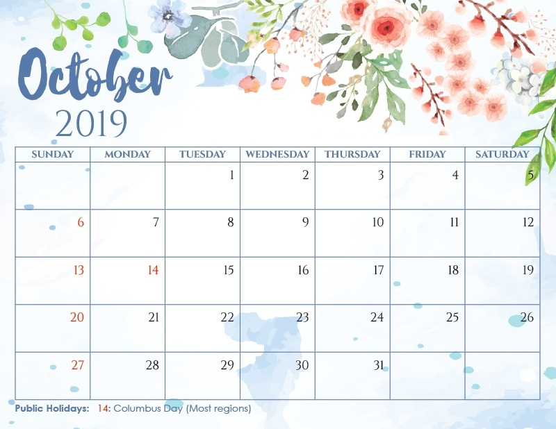 picture about Cute Calendars titled ✅ Lovable Oct 2019 Calendar Wall Floral Purple Layouts