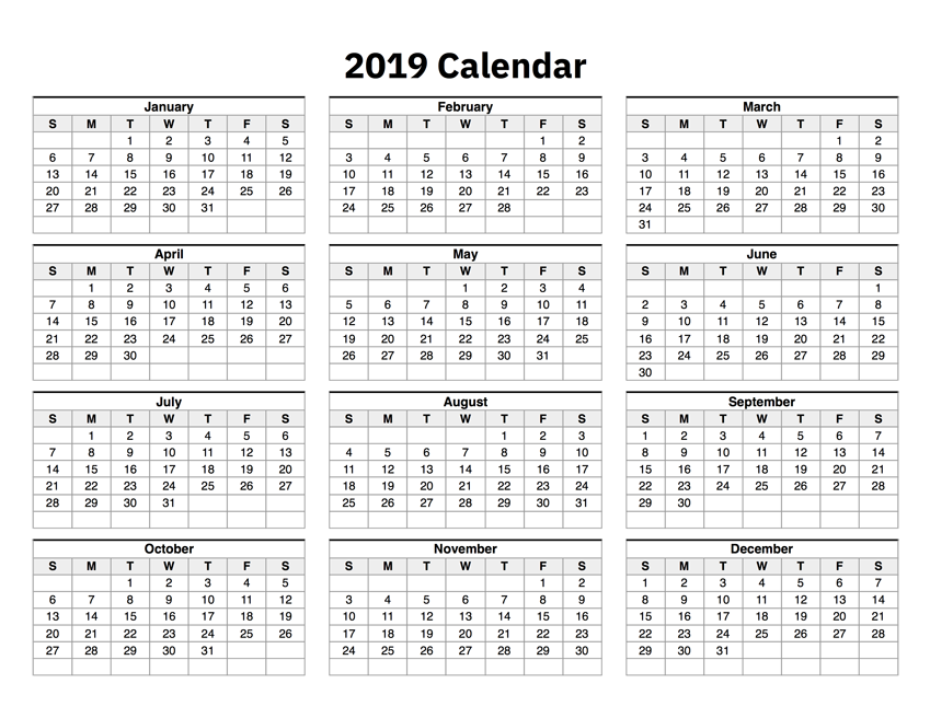 2019 Calendar One Page
