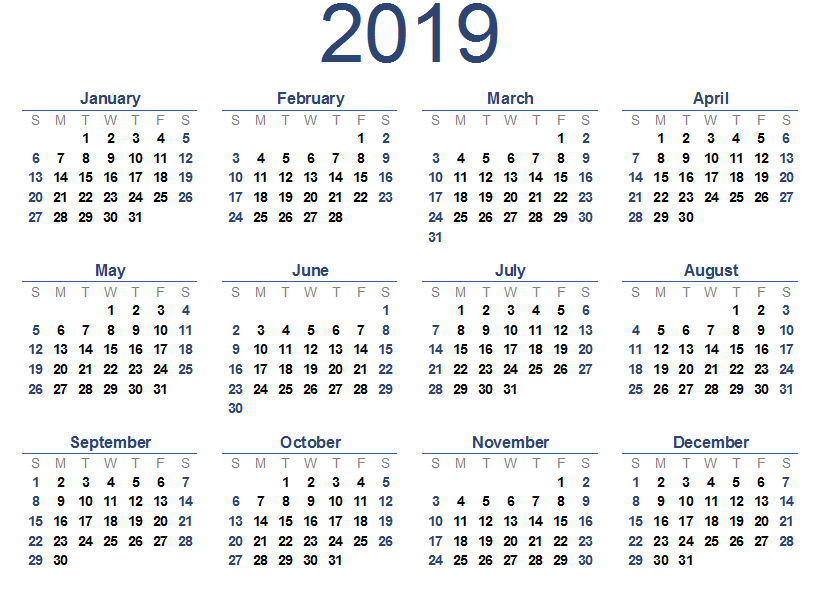 Free Yearly 2019 Calendar