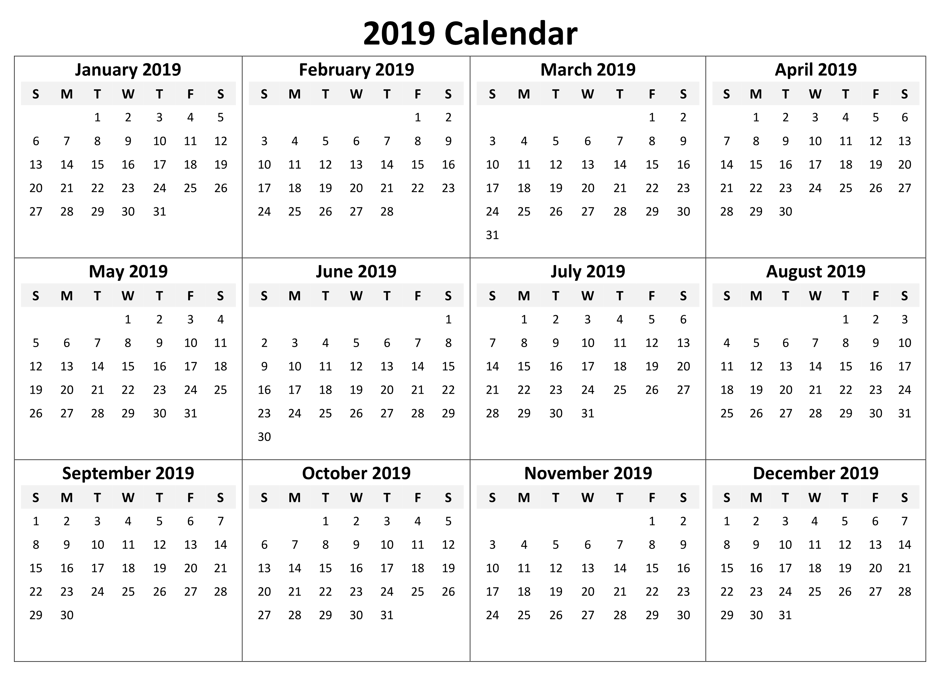 Yearly Calendar 2019 Template