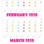 January February March 2020 Calendar Printable PDF Word Excel Page Free Download