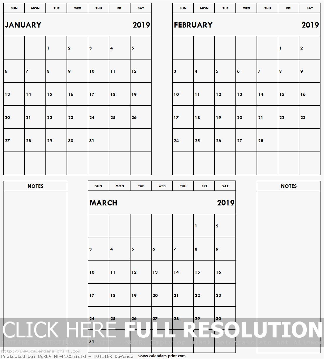 Blank January February March 2019 Calendar with Notes