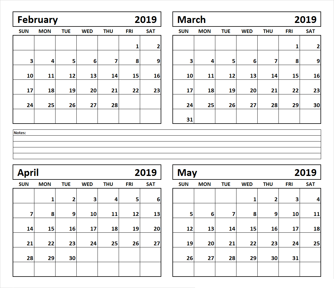 February March April and May 2019 Calendar