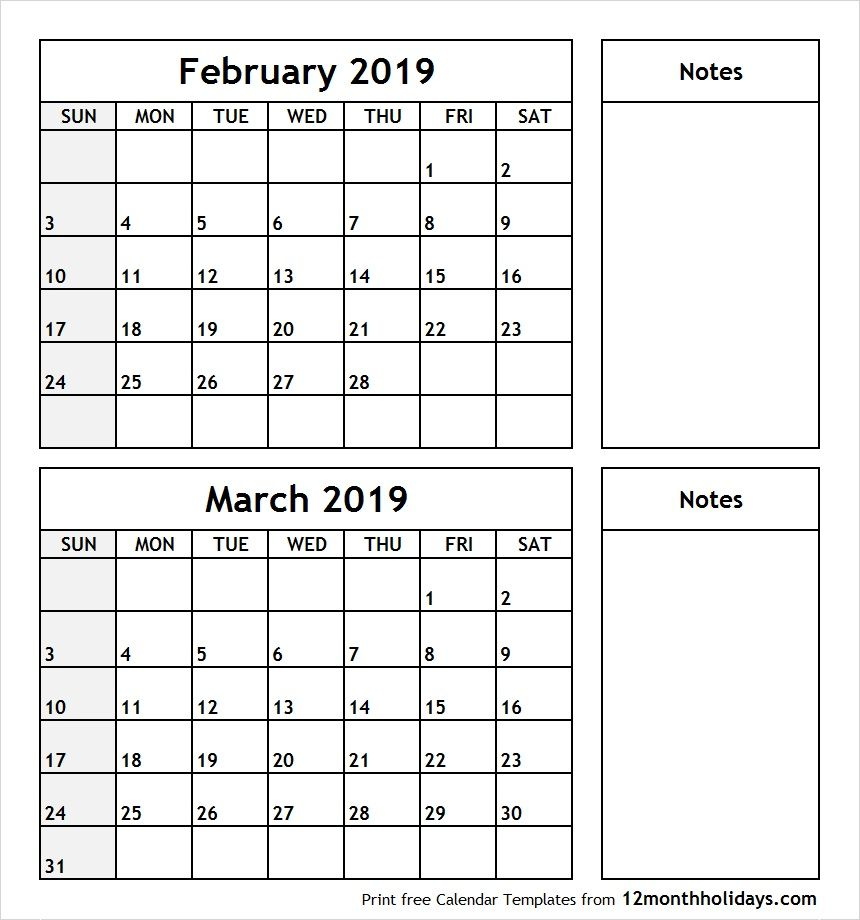 february to march 2019 calendar with notes
