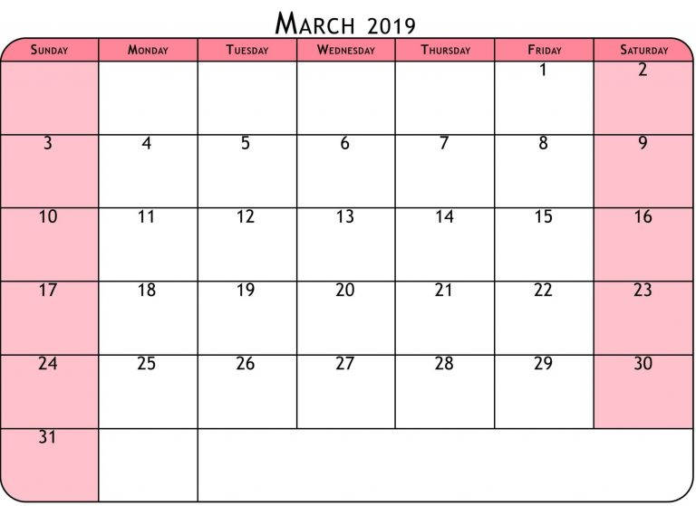 Calendar March 2019 in Printable Format
