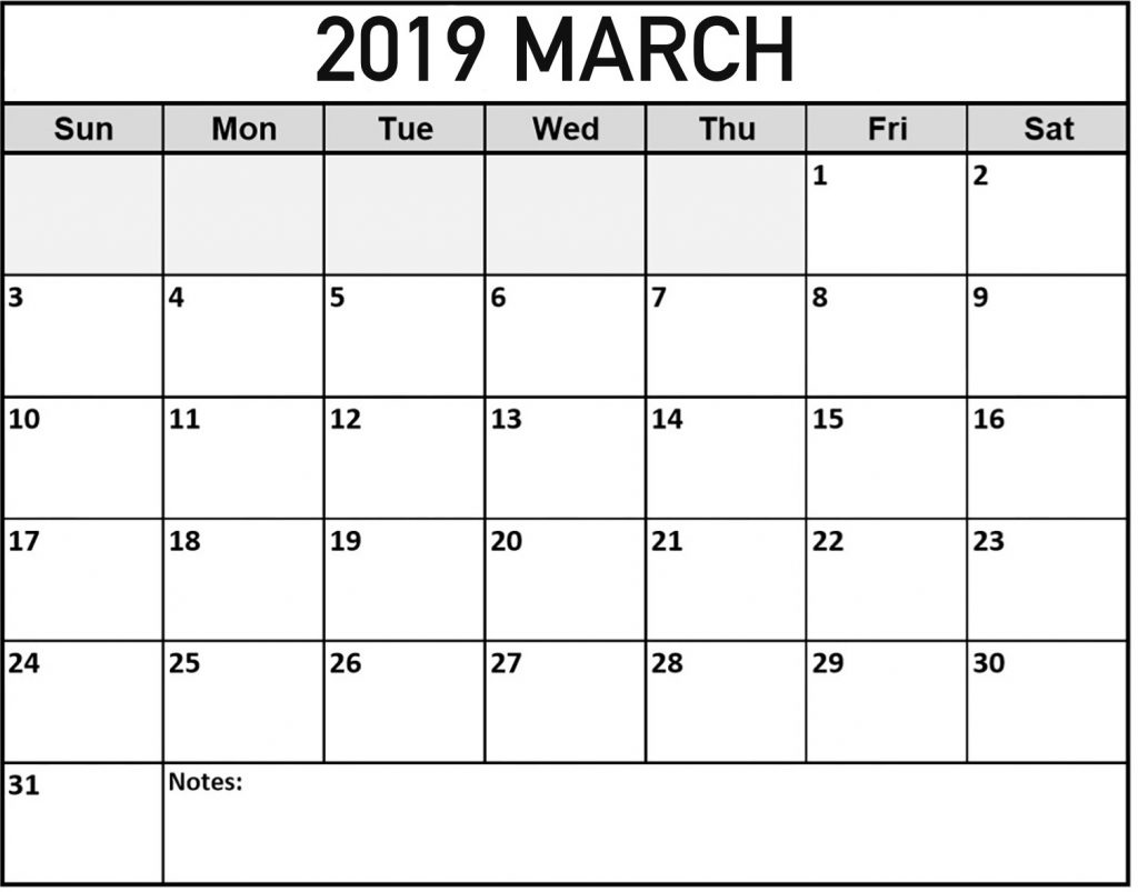 Fillable March 2019 Calendar Word