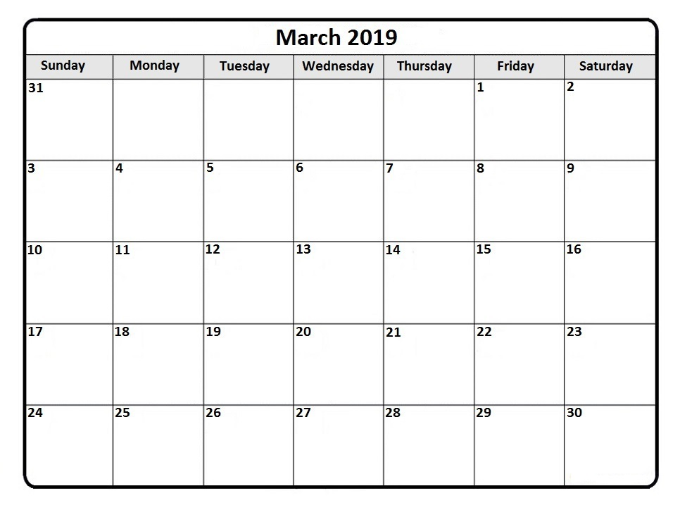 Fillable March 2019 Calendar