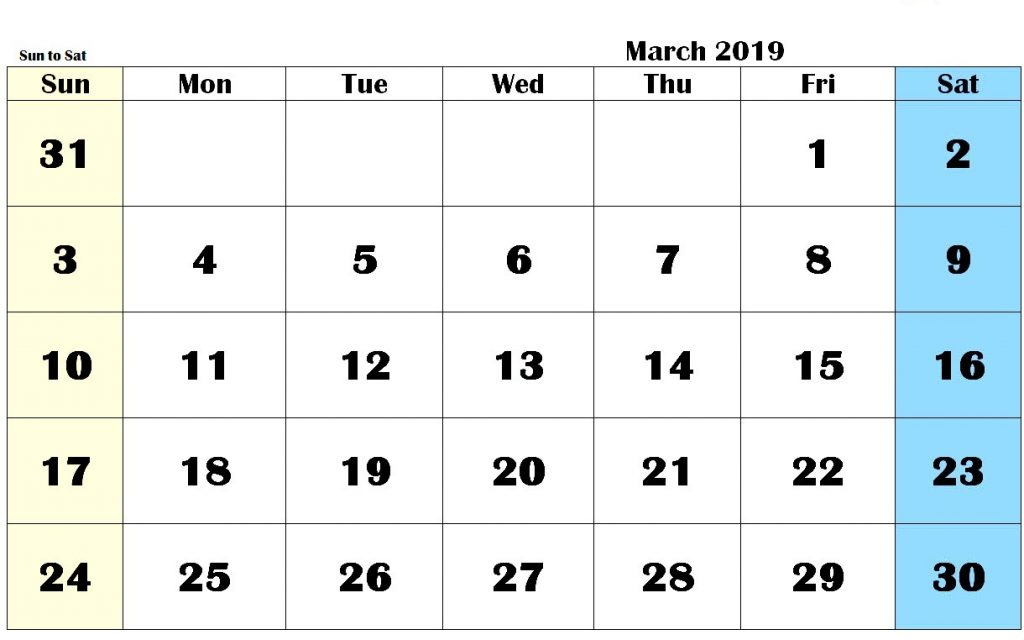 Fillable March 2019 Printable Calendar PDF