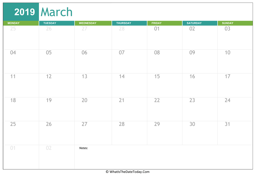 Fillable March Calendar 2019