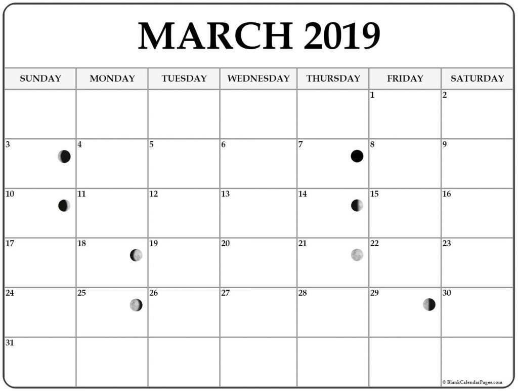 Lunar Calendar For March 2019 Full Moon Phases