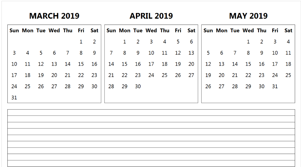 March April May 2019 Calendar Template With Notes