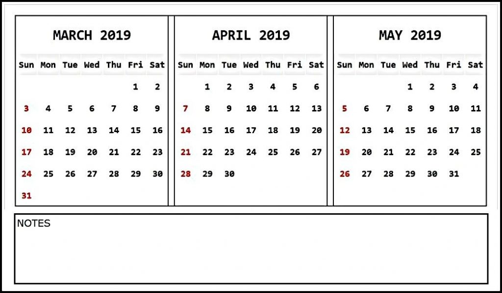 Printable March April May 2019 Calendar Template Notes