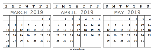 March April May Calendar Fillable