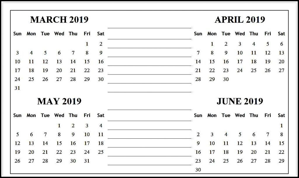 March April May June 2019 Calendar