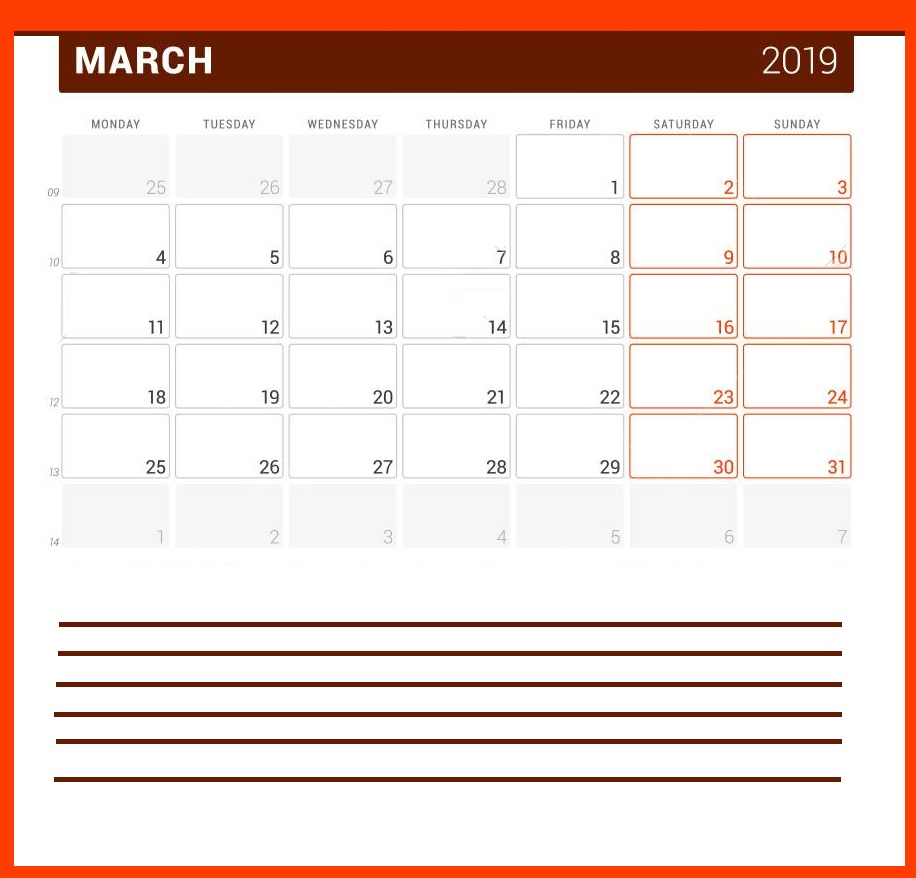 Online Fillable March 2019 Calendar Notes