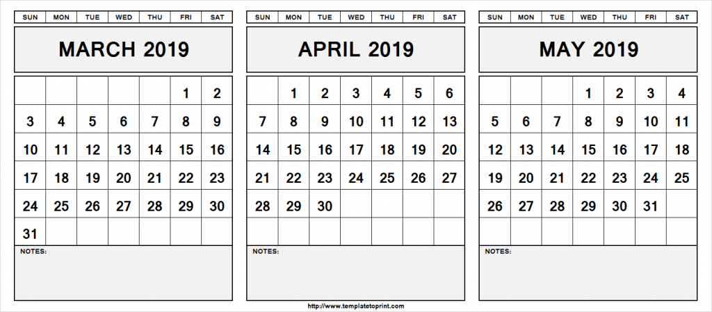 Printable March April May 2019 Calendar With Notes