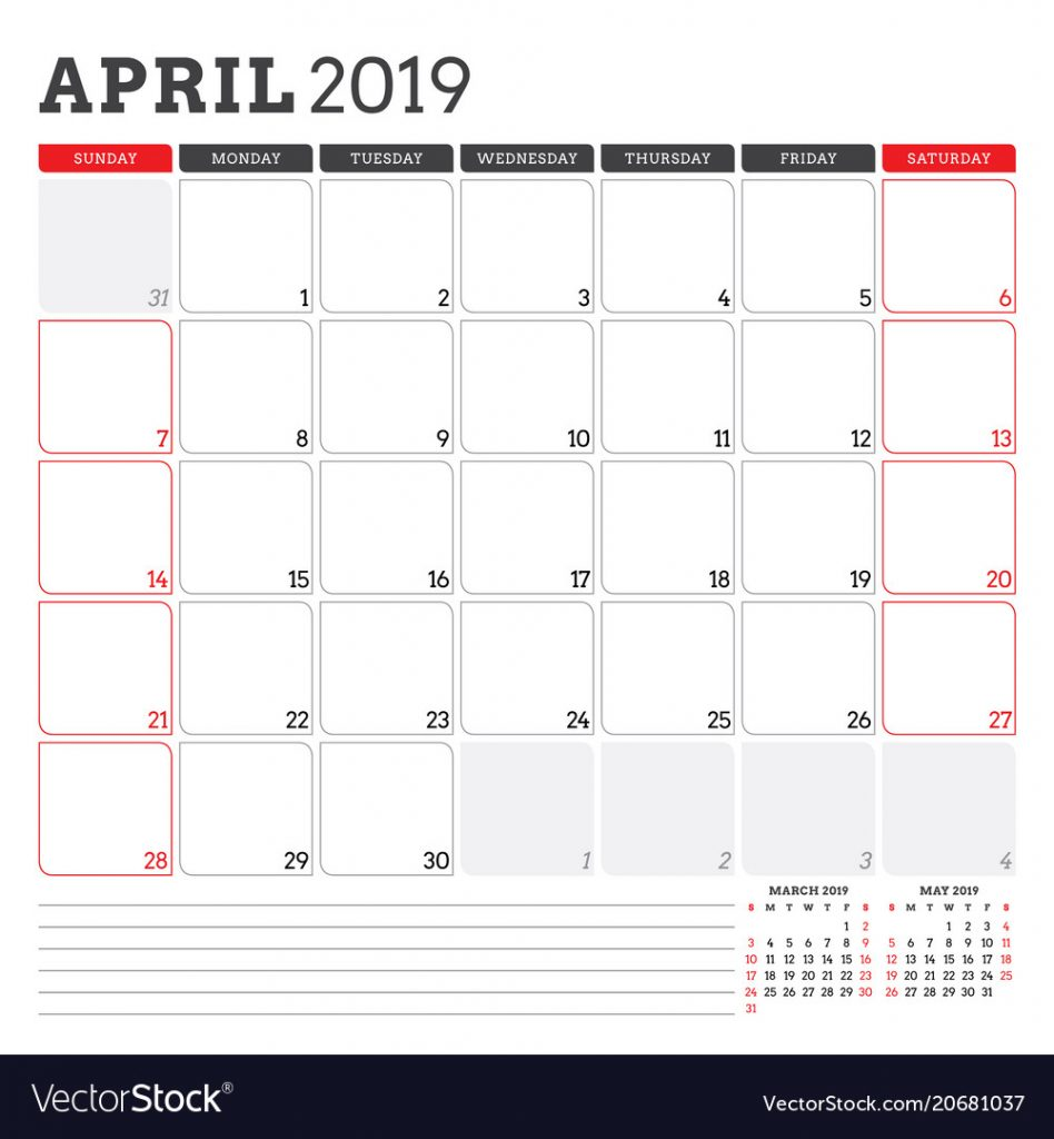 Best Free Monthly April Calendar 2019 Printable Pdf Template Word A4
