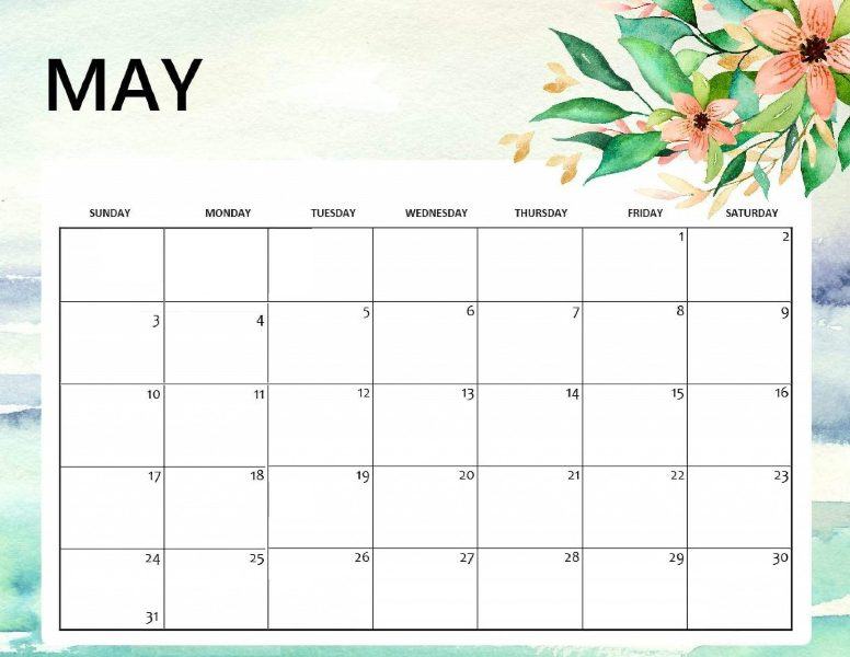 Blank May 2020 Editable Calendar Template
