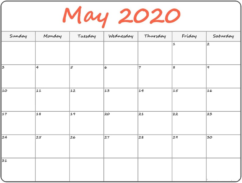 Editable Calendar For May 2020 Fillable Printable