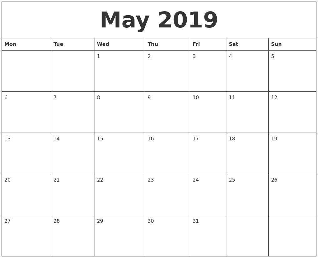 Editable May 2019 Calendar Portrait