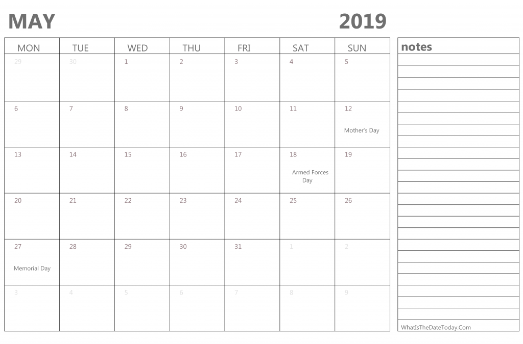 May 2019 Editable Calendar Template