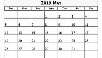 May 2019 Calendar Editable Template