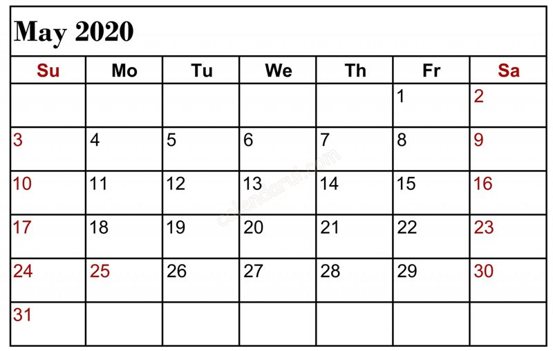 May 2020 Calendar Editable Word