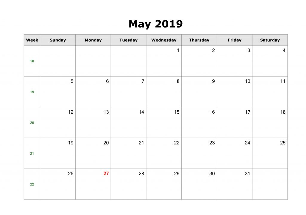 Print Editable May 2019 Calendar Landscape