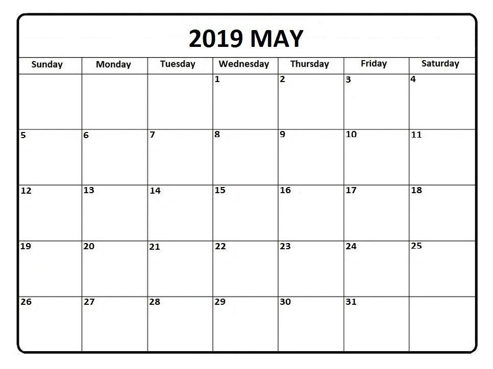 Blank 2019 Calendars To Print Free Editable May 2019 Calendar Blank Template Word Notes