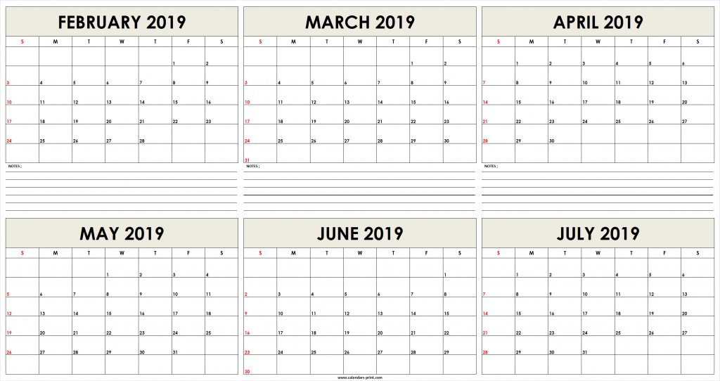6 Month February 2019 to July 2019 Calendar Template