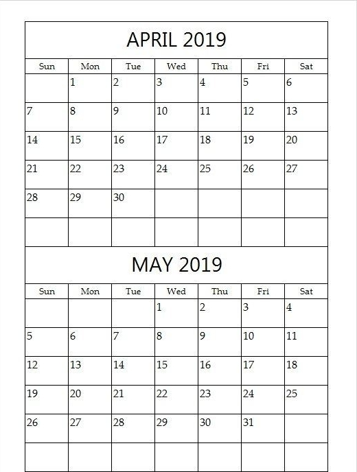 April And May 2019 Calendar