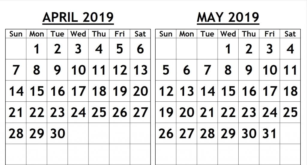 April May 2019 Calendar Printable