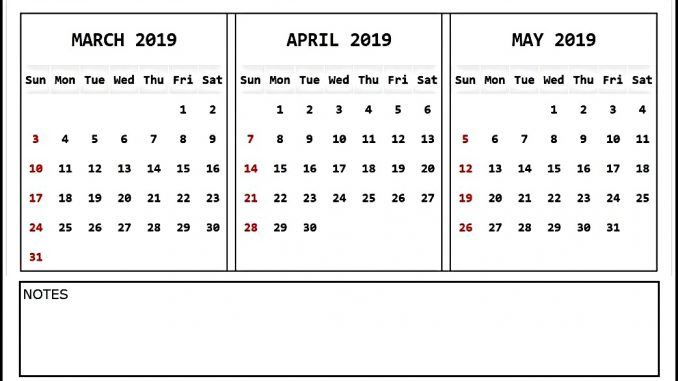 April May June 2019 Calendar Printable