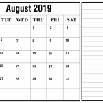 Free Blank August Calendar 2019 Printable Template PDF Word Excel