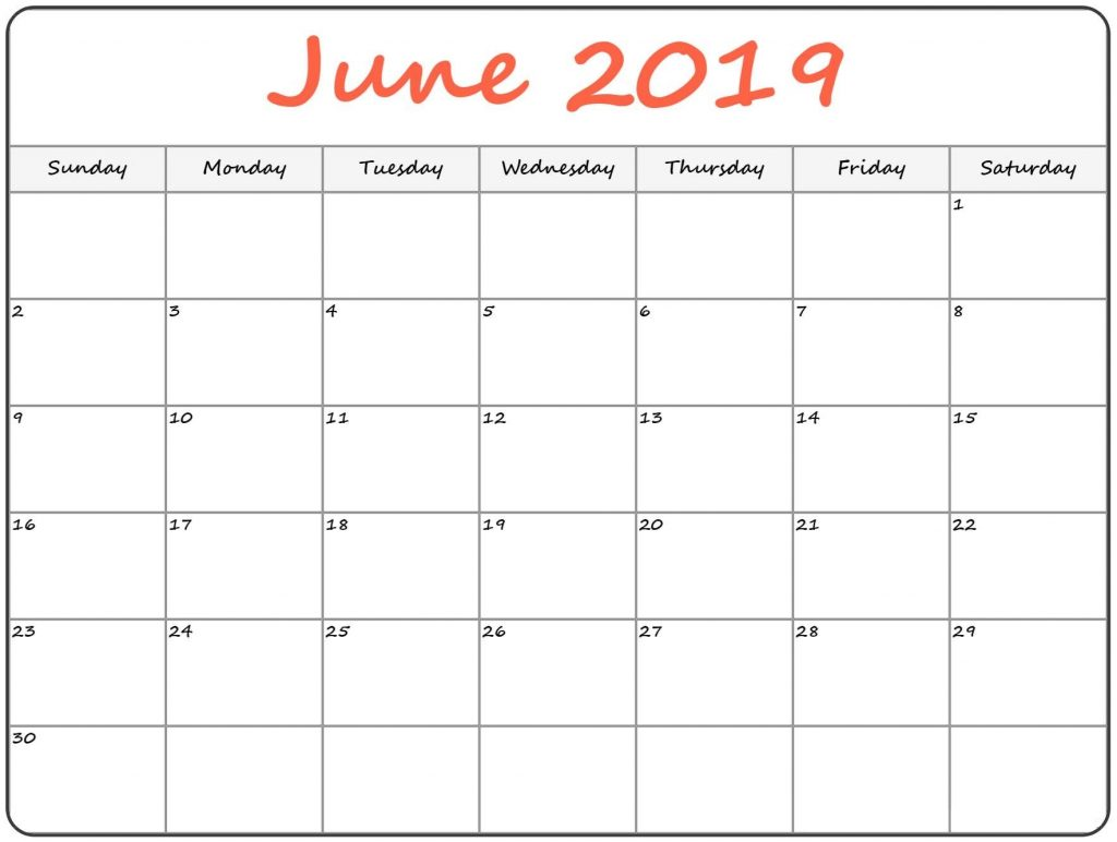 {Best} Free June 2019 Blank Calendar Printable Templates